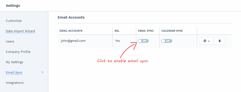 Email Sync - enable email sync of gmail account